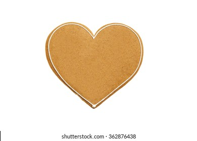 Heart shaped gingerbread isolated on white background