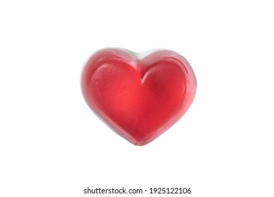 Heart shaped Gummy Jelly candy on white background