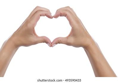 Heart Shaped Hand Isolated