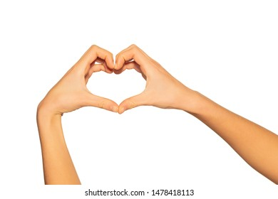 Heart shaped hands as gesture of love and romance