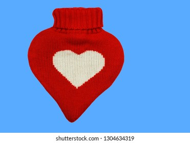 Heart Shaped Hot Water Bag with Knitted Cover