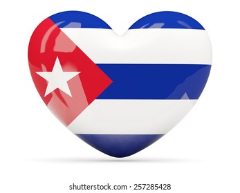 Heart shaped icon with flag of cuba isolated on white