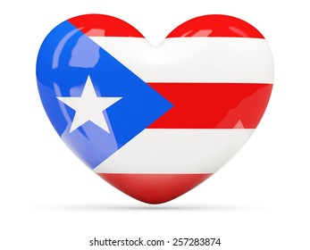 Heart shaped icon with flag of puerto rico isolated on white
