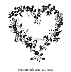 Heart shaped illustration with flowers, vines and leaves in black over a white background.