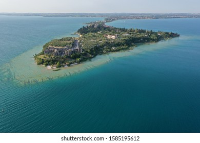 Heart shaped island in Lake Garda, Italy near Sirmione