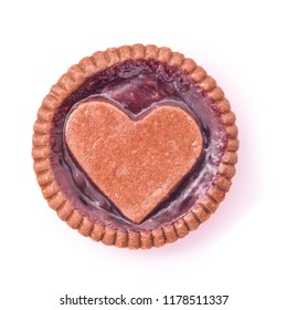 heart shaped jam cookie pie isolated