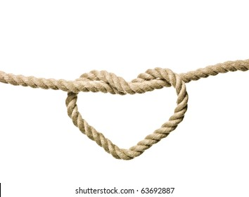 Heart Shaped Knot on a rope isolated