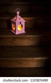 Heart shaped lantern and candle