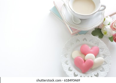 heart shaped macaroon and tea