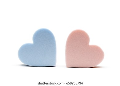 Heart shaped makeup foundation sponges with white background.  Great for applying powder , liquid, cream, blush.