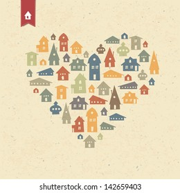 Heart shaped many houses icons. Realty concept. Raster version, vector file available in portfolio.
