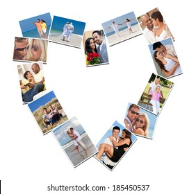 Heart shaped montage of happy, romantic, mixed race couples enjoying romantic lifestyle, at beach embracing, holding hands, drinking wine at home in love.