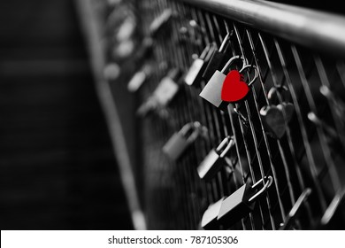 Heart shaped padlock on bridge in Munich