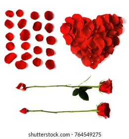 Heart shaped petals, arrow roses red set of petals isolated on white background