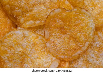 Heart Shaped Potato Chip Snack Close Up Detail