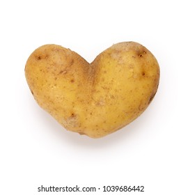 Heart shaped potato spud on white background, contains clipping path