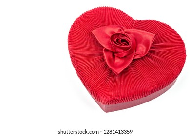 Heart shaped red velvet box with bowknot