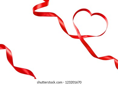Heart shaped ribbon isolated on white, template design