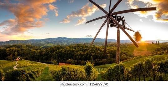 Heart shaped road in Slovenia, Štajerska, wineyards