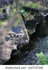 Heart shaped rock at Rairaikyo Gorge in Miyagi prefecture of Japan.