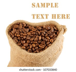 Heart shaped sack with coffee beans