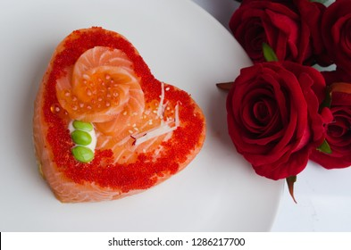 heart shaped salmon and rice sushi decorate in mini heart shape concept love in valentine festival
