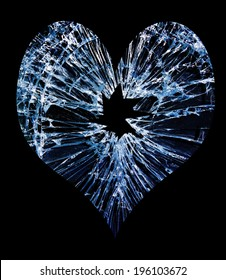 heart shaped shattered glass with a hole in the middle