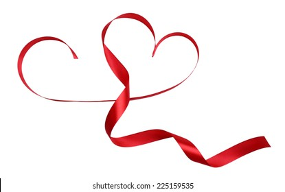 Heart shaped shiny red satin ribbon isolated on white