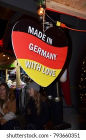 """Heart shaped sign """"Made in Germany"""" Vancouver, BC Christmas Market.  December, 2017.  Canada"""