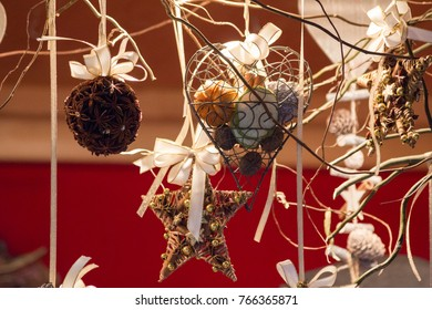 Heart shaped and star shaped Christmas ornaments and anise globe