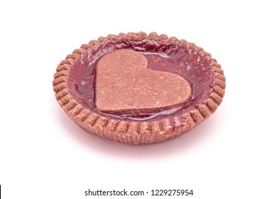 heart shaped strawberries jam cookie pie shaped isolated