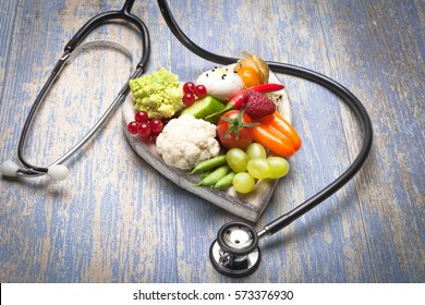 Heart shaped tray with healthy food