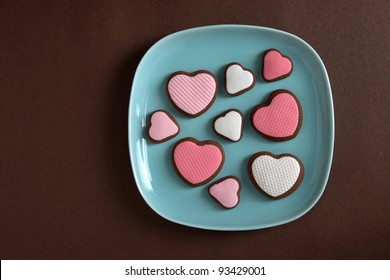Heart shaped valentine cookies on plate