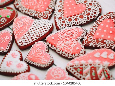 Heart shaped Valentines Day cookies with sugar decorating