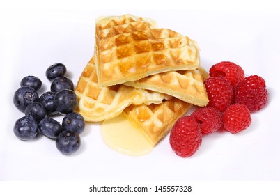 heart shaped waffles with berries