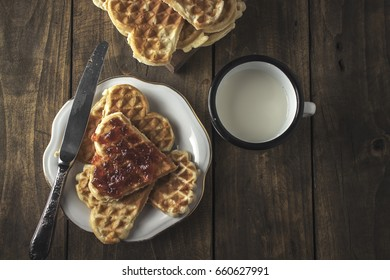 Heart Shaped Waffles With Jam and Milk