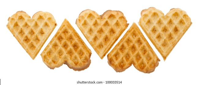 Heart shaped waffles on white background isolated