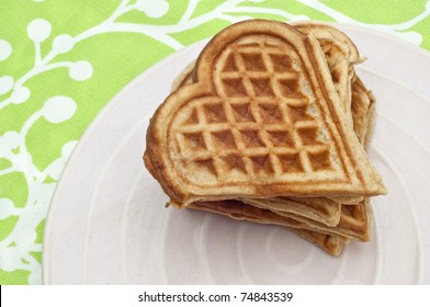 Heart Shaped Waffles Stack on a Pink Plate.