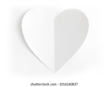 Heart shaped white paper in white background, Heart cut from white paper, Valentines Day background, Holiday Card, Romantic atmosphere