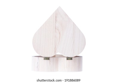 A heart shaped wooden gift box isolated on white