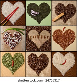 Heart shapes made from miscellaneous foods