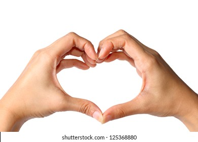 Heart shape,young women hand made heart shape on white background