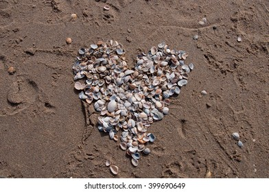 A heart of shells left behind in the sand.