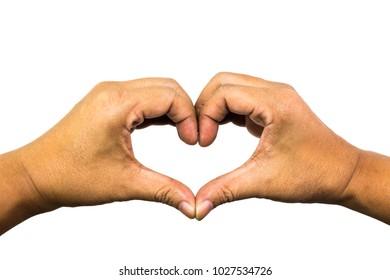 Heart Sign of love, Man hand make a heart sign of love, Love symbol,