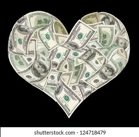 Heart sign made by 100 dollar banknotes isolated on black