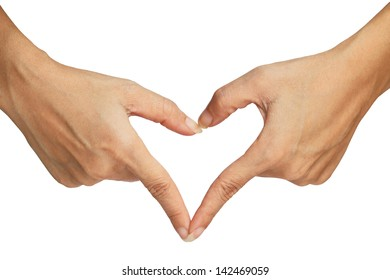 Heart signal making by hand isolated over white background