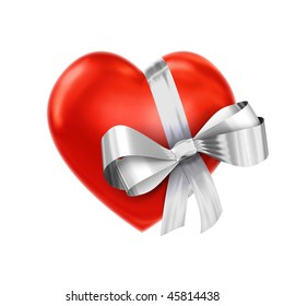 Heart in a silver ribbon