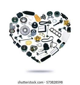 Heart spare auto parts for car on white background. Set with many isolated items for shop or aftermarket, OEM. Popular repair part for service.