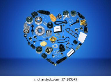 Heart spare auto parts for car on blue background. Set with many isolated items for shop or aftermarket, OEM