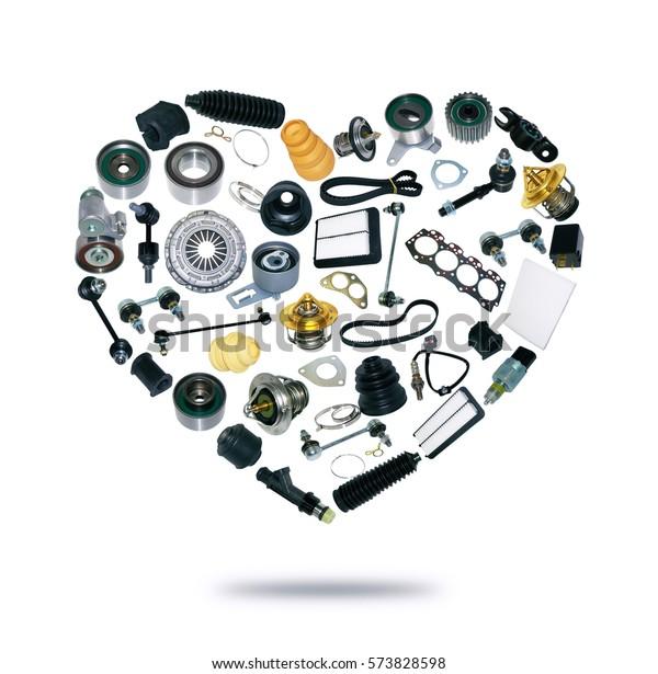 Herzersatzteile für Autos auf weißem Hintergrund. Set mit vielen Einzelteilen für Shop oder Aftermarket, OEM. Beliebter Reparaturteil für den Service.